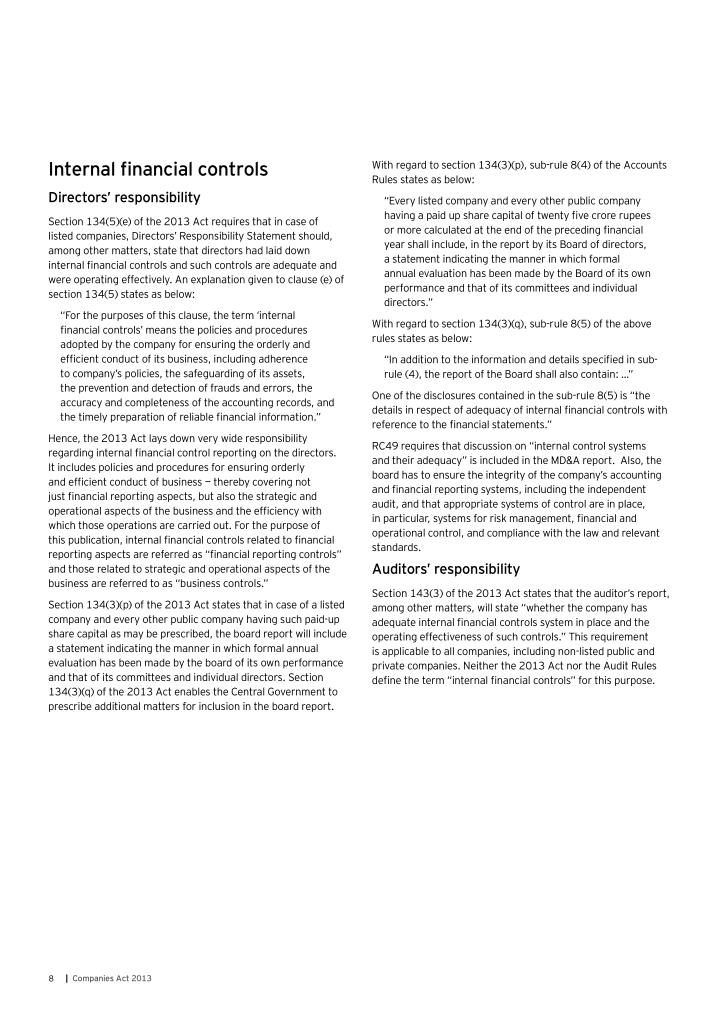 Internal financial controls