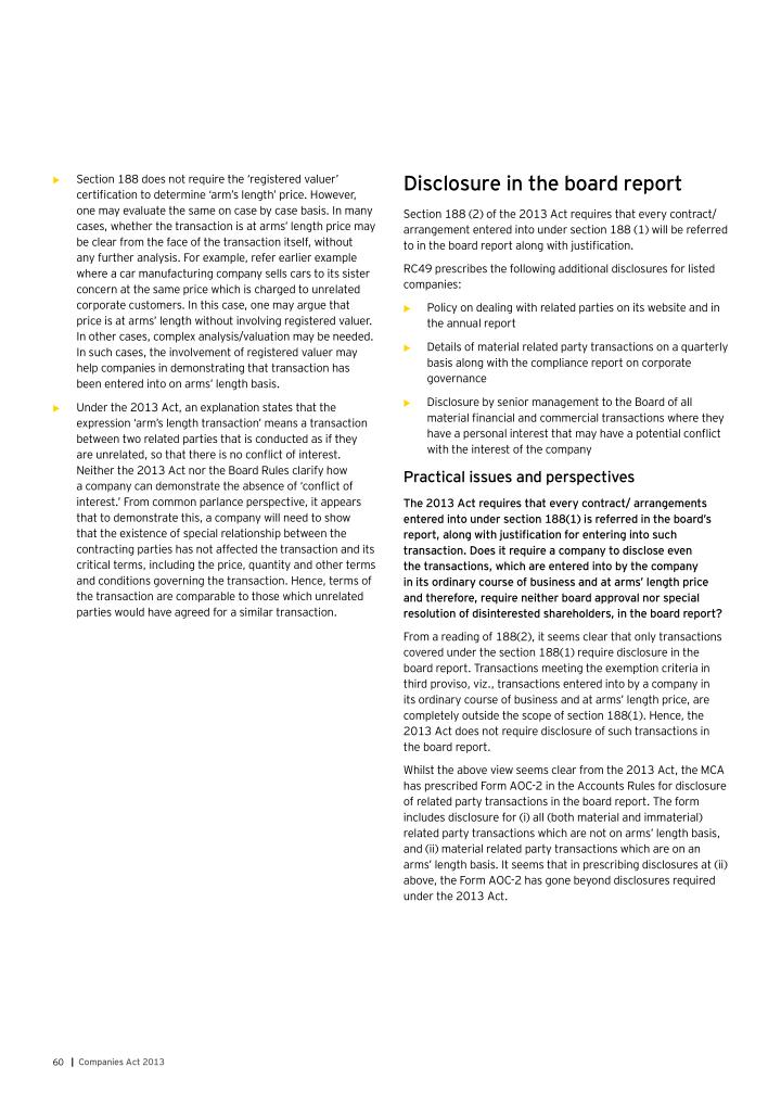 Disclosure in the board report