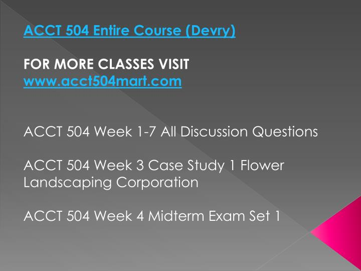 ACCT 504 Entire Course (