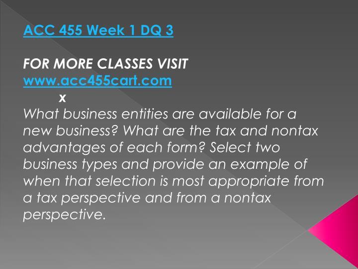 ACC 455 Week 1 DQ 3
