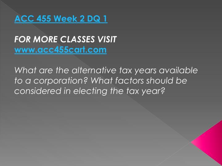 ACC 455 Week 2 DQ 1