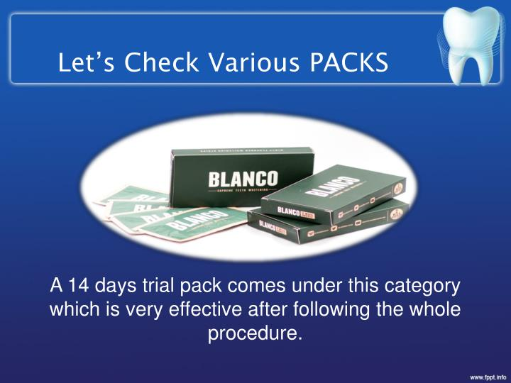 Let's Check Various PACKS