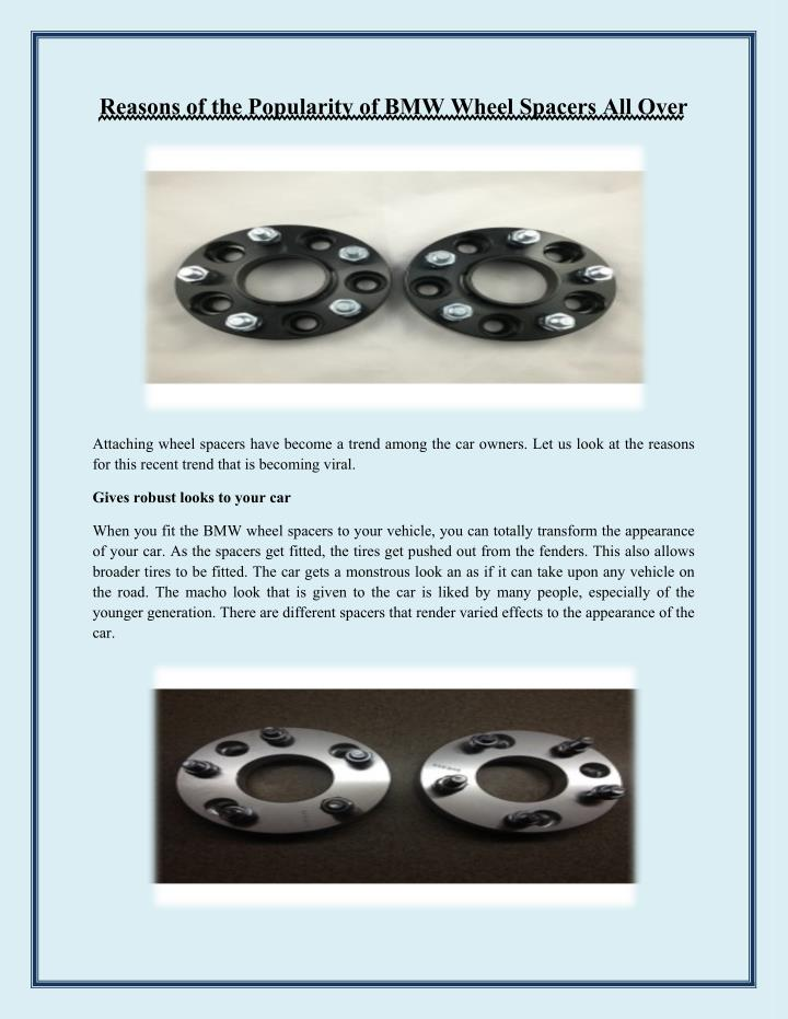 Reasons of the Popularity of BMW Wheel Spacers All Over