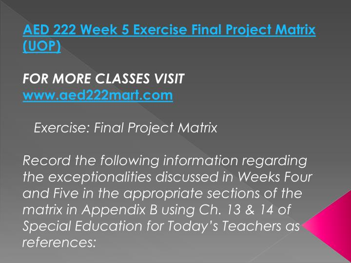 AED 222 Week 5 Exercise Final Project Matrix (UOP)