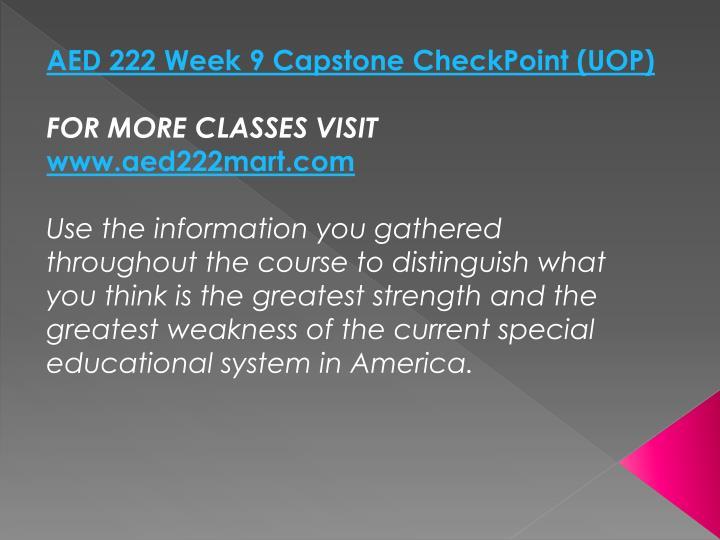 AED 222 Week 9 Capstone