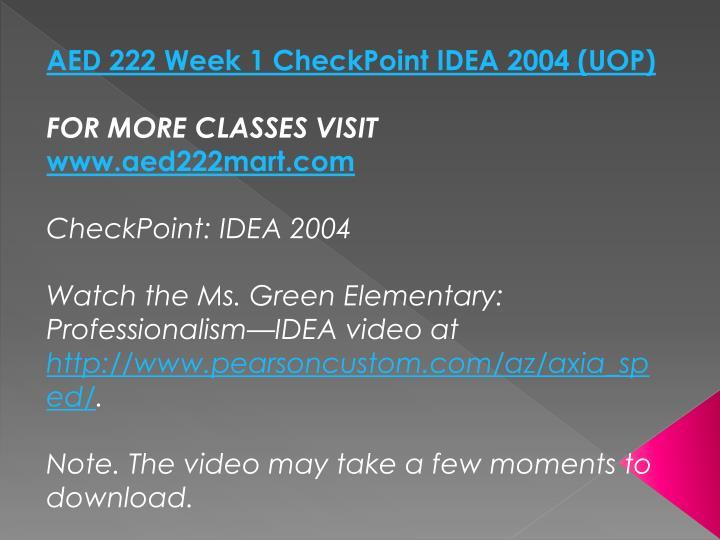 AED 222 Week 1