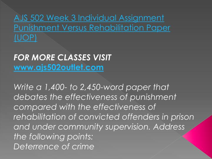 AJS 502 Week 3 Individual Assignment Punishment Versus Rehabilitation Paper (UOP)