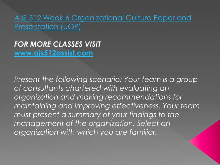 AJS 512 Week 6 Organizational Culture Paper and Presentation (UOP)