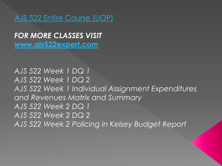 AJS 522 Entire Course (UOP)