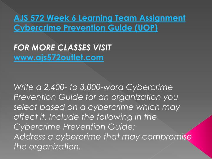 AJS 572 Week 6 Learning Team Assignment Cybercrime Prevention Guide (UOP)