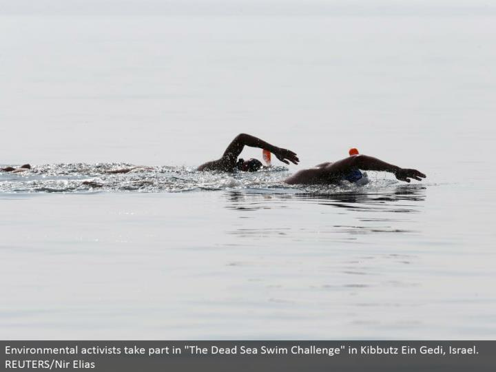 "Environmental activists partake in ""The Dead Sea Swim Challenge"" in Kibbutz Ein Gedi, Israel. REUTERS/Nir Elias"