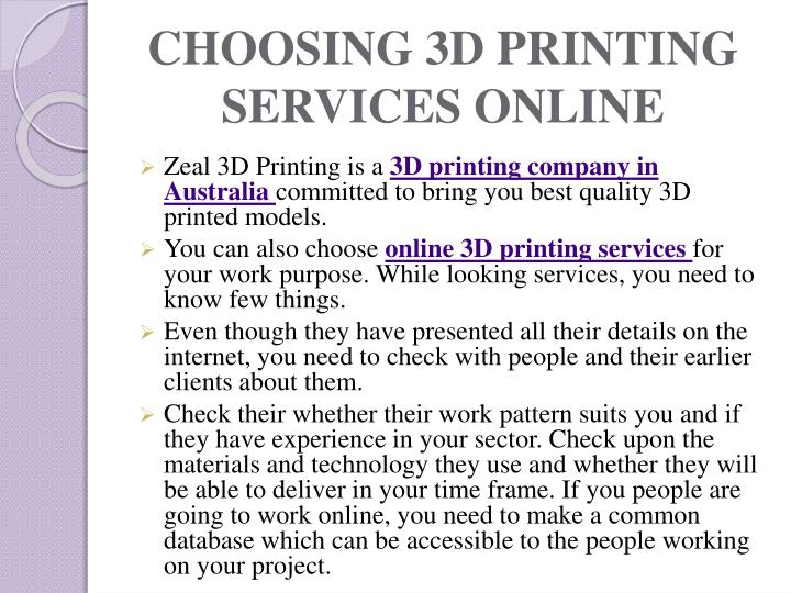 CHOOSING 3D PRINTING SERVICES ONLINE
