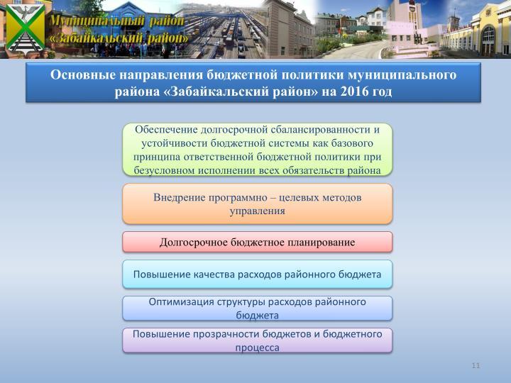 Основные направления бюджетной политики муниципального района «Забайкальский район» на 2016 год