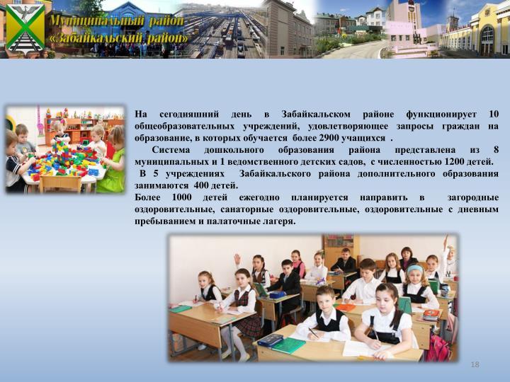 На сегодняшний день в Забайкальском районе функционирует