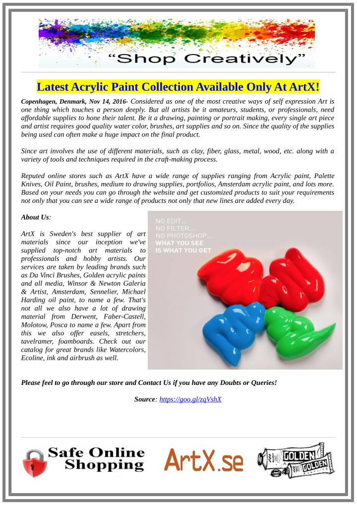 Latest Acrylic Paint Collection Available Only At ArtX!