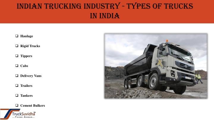 Indian Trucking Industry - Types of Trucks