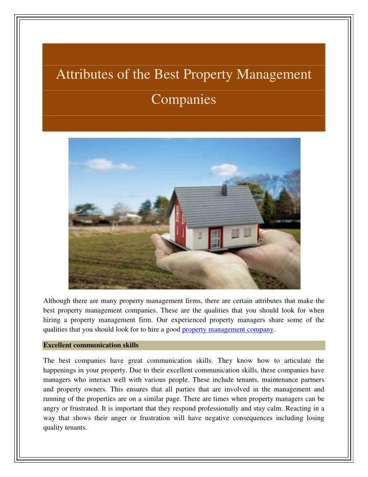 Attributes of the Best Property Management