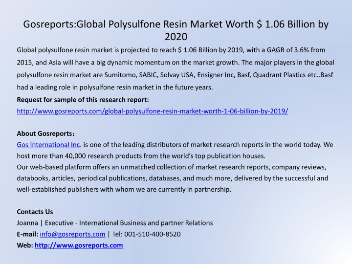 Gosreports:Global Polysulfone Resin Market Worth $ 1.06 Billion by 2020