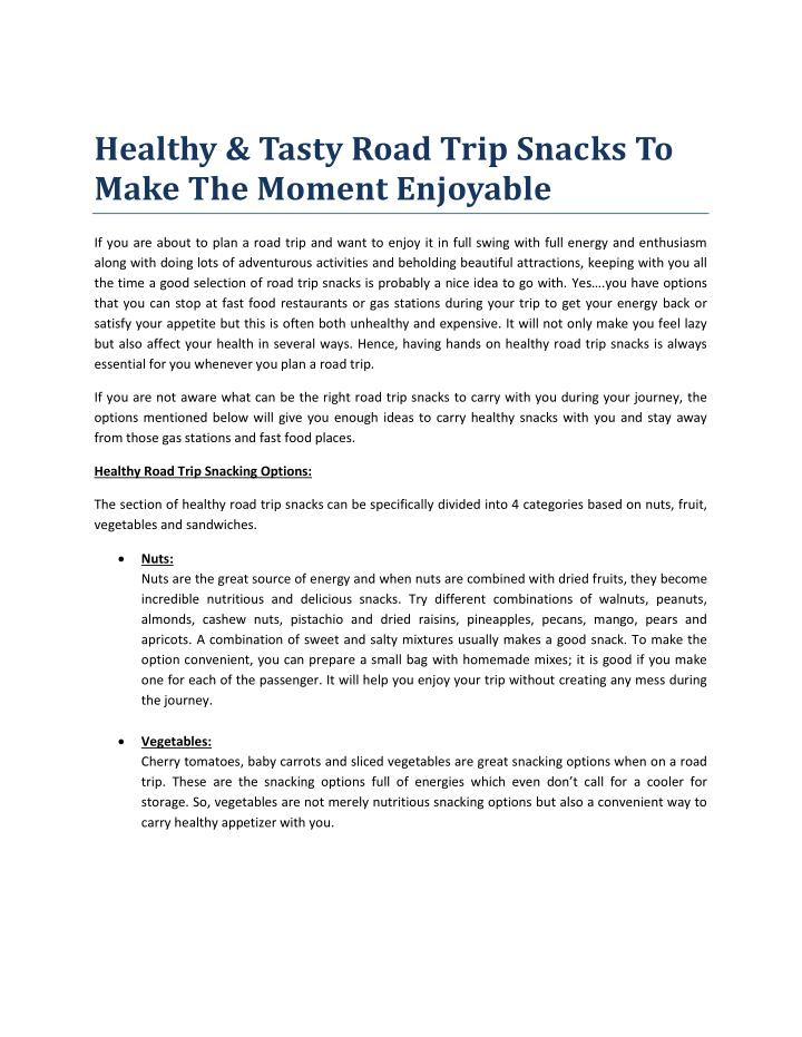 Healthy & Tasty Road Trip Snacks To