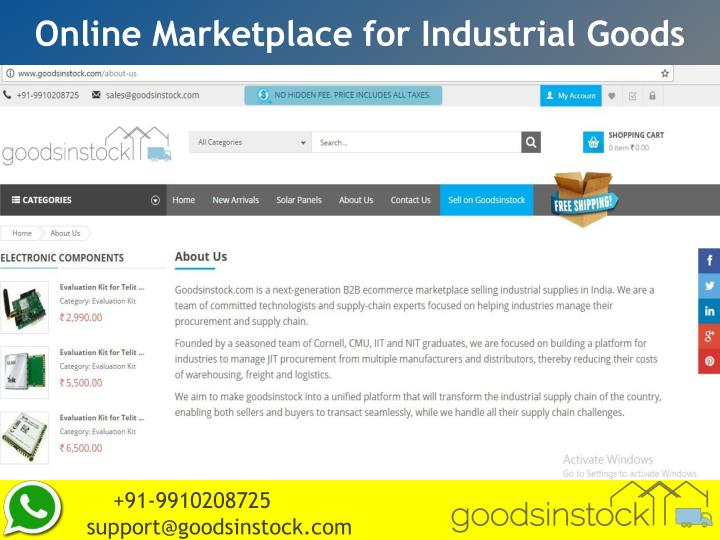 Online Marketplace for Industrial Goods