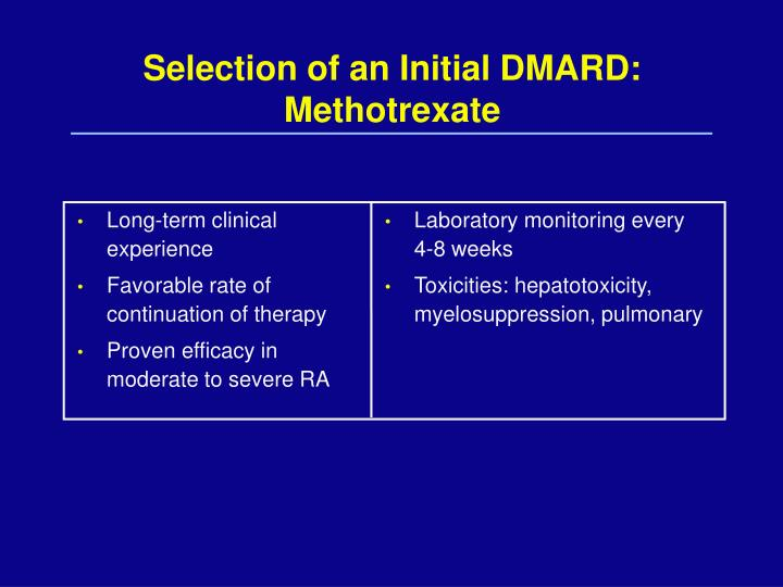 Selection of an Initial DMARD: Methotrexate
