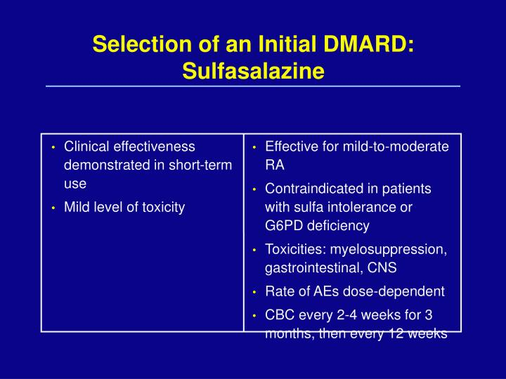 Selection of an Initial DMARD: Sulfasalazine