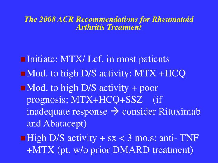 The 2008 ACR Recommendations for Rheumatoid Arthritis Treatment