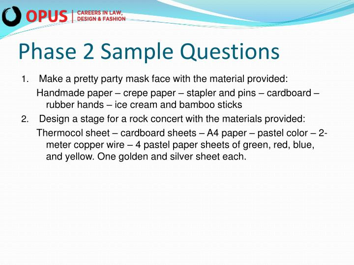 Phase 2 Sample Questions