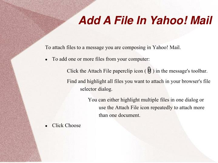 Add a file in yahoo mail