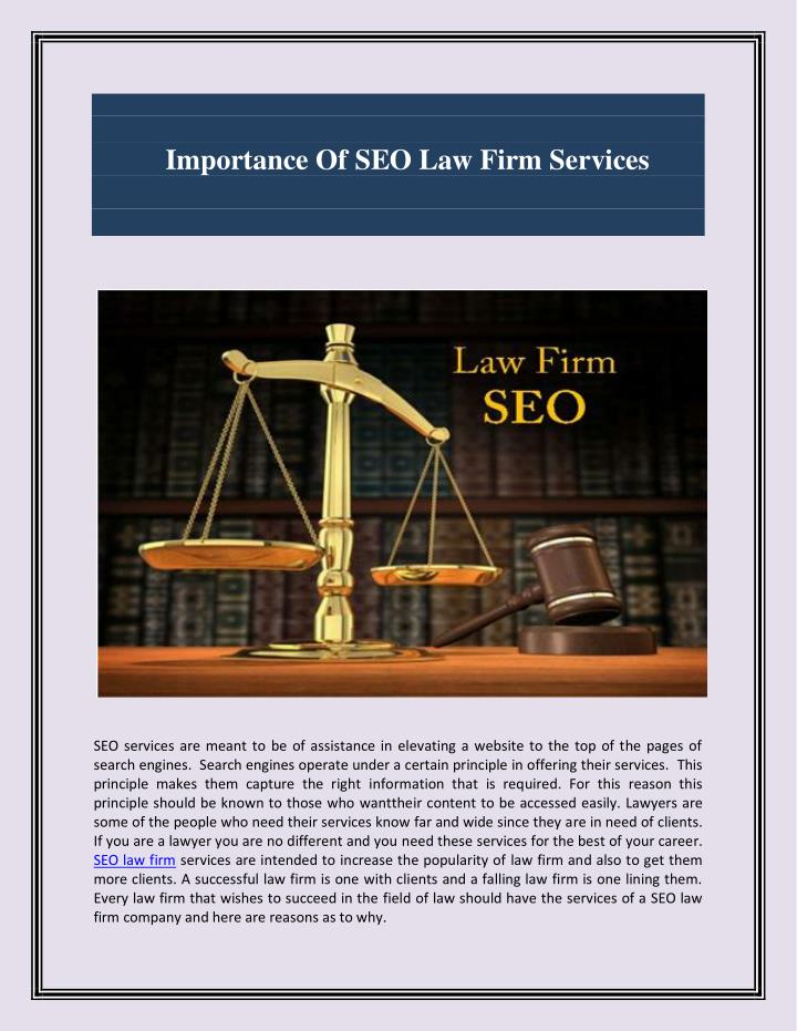 Importance Of SEO Law Firm Services