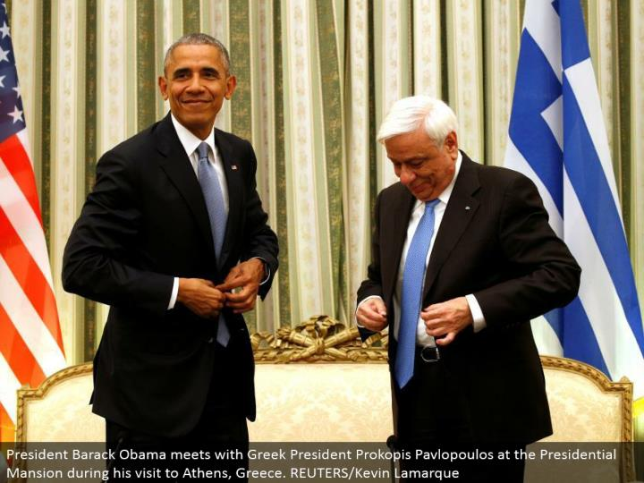 President Barack Obama meets with Greek President Prokopis Pavlopoulos at the Presidential Mansion amid his visit to Athens, Greece. REUTERS/Kevin Lamarque