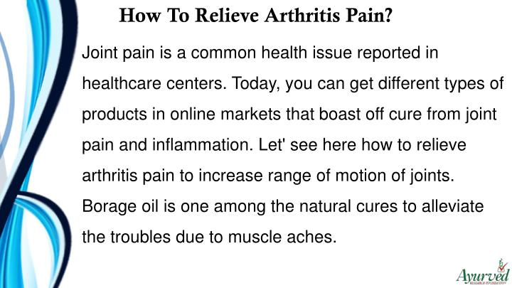 How To Relieve Arthritis Pain?