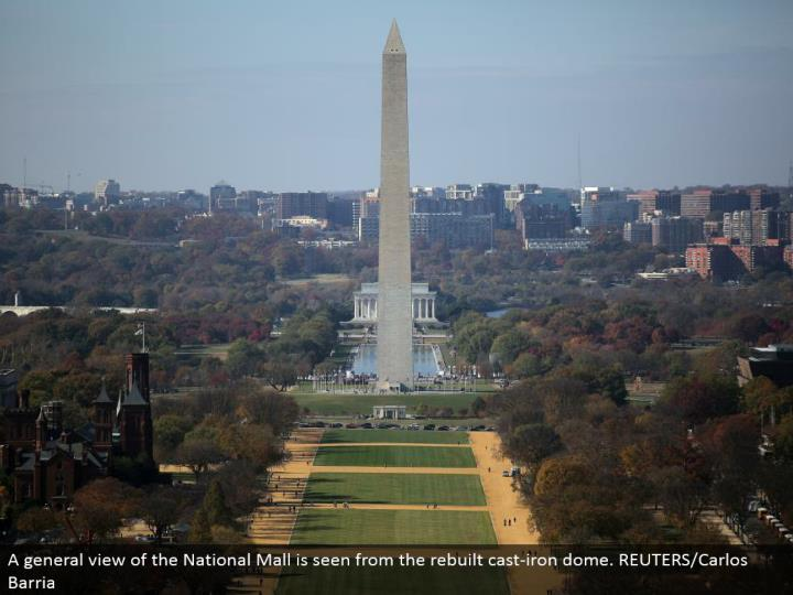 A general perspective of the National Mall is seen from the remade cast-press arch. REUTERS/Carlos Barria