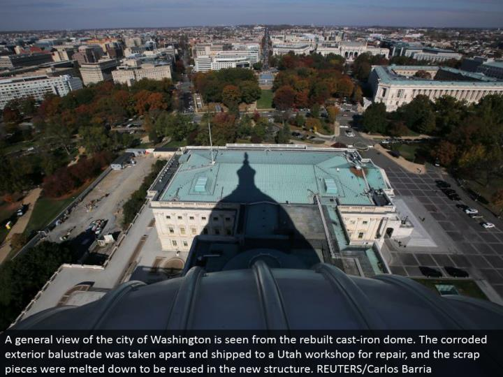 A general perspective of the city of Washington is seen from the remade cast-press arch. The consumed outside balustrade was dismantled and delivered to an Utah workshop for repair, and the scrap pieces were liquefied down to be reused in the new structure. REUTERS/Carlos Barria
