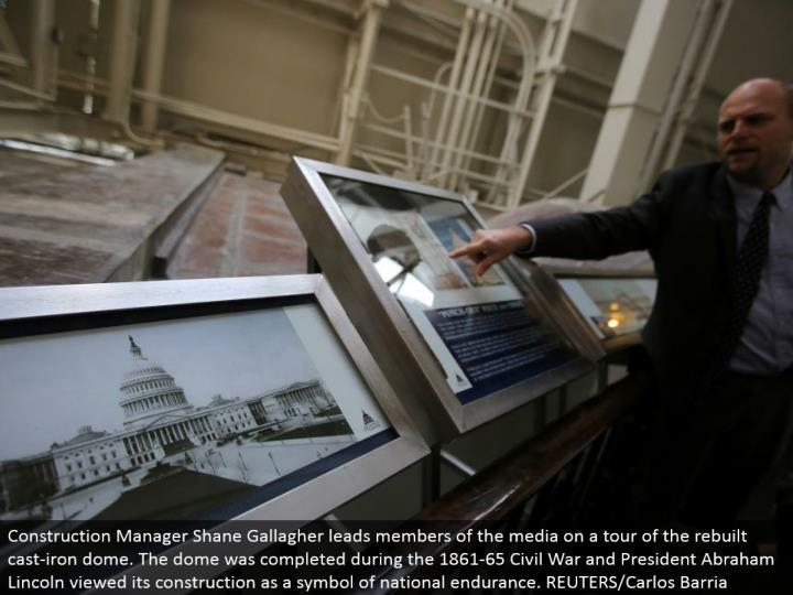 Construction Manager Shane Gallagher drives individuals from the media on a voyage through the modified cast-press arch. The arch was finished amid the 1861-65 Civil War and President Abraham Lincoln saw its development as an image of national continuance. REUTERS/Carlos Barria