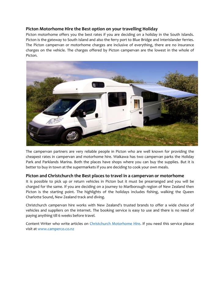 Picton Motorhome Hire the Best option on your travelling Holiday