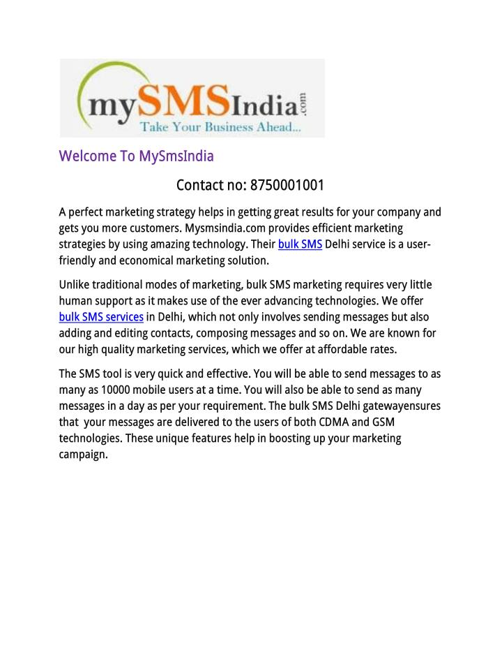 Welcome To MySmsIndia
