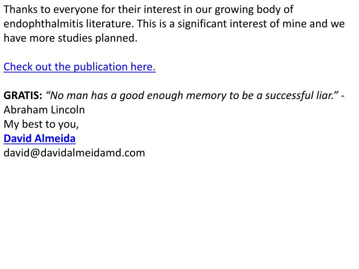 Thanks to everyone for their interest in our growing body of