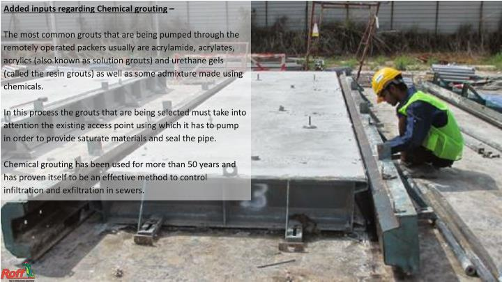Added inputs regarding Chemical grouting