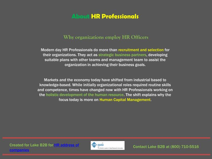 About HR Professionals