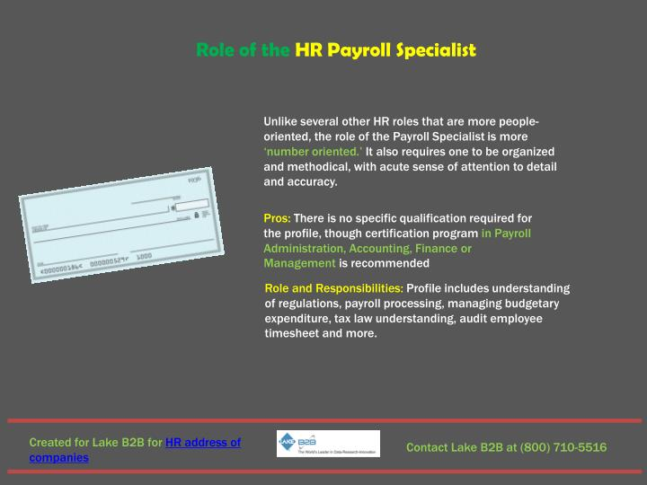 Role of the HR Payroll Specialist