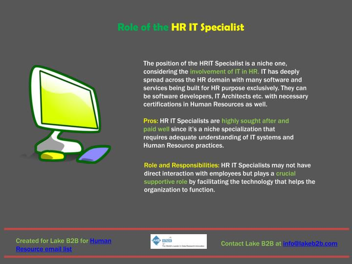 Role of the HR IT Specialist