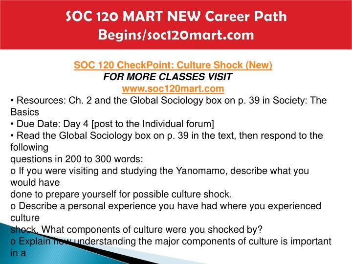 SOC 120 MART NEW Career Path Begins/soc120mart.com