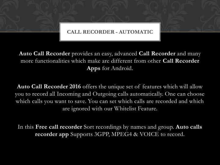 Call Recorder - Automatic