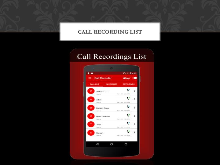 CALL RECORDING LIST