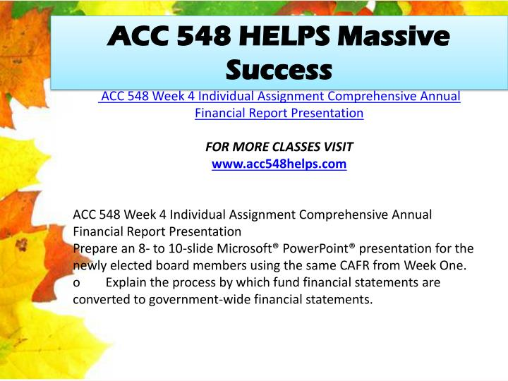 ACC 548 HELPS Massive Success