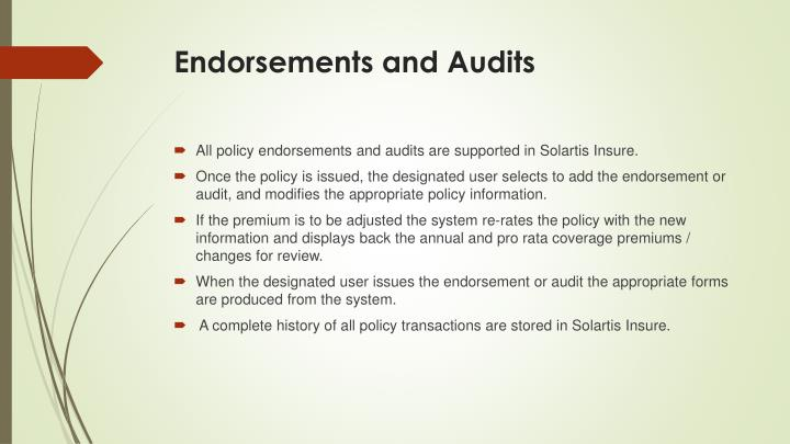 Endorsements and Audits