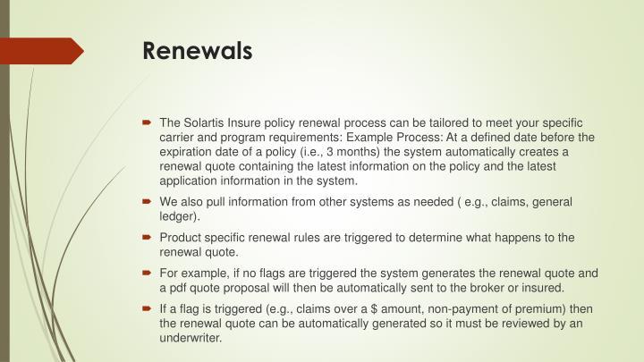 Renewals