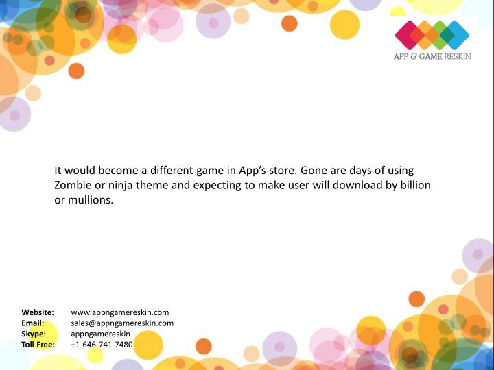 It would become a different game in App's store. Gone are days of using