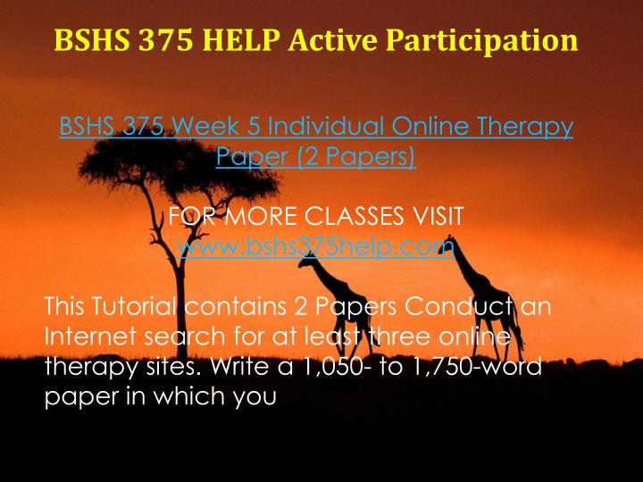 BSHS 375 HELP Active Participation